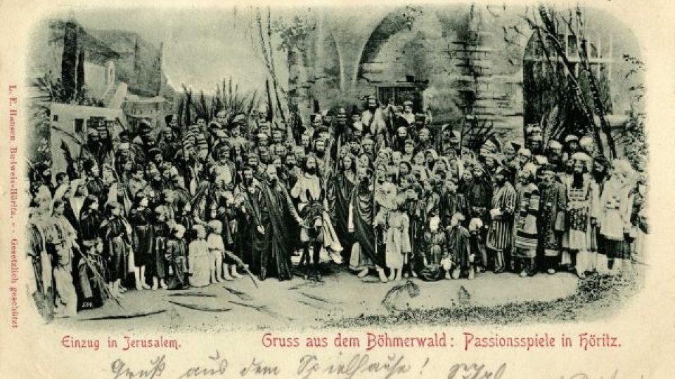 Hořické pašijové hry. Scéna Příjezd Krista do Jeruzaléma, 1893