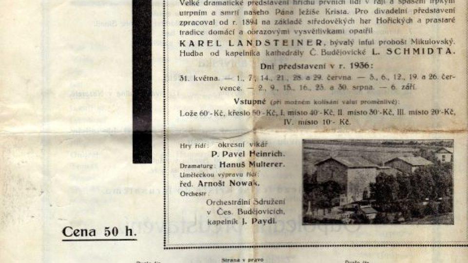 Hořické pašijové hry. Propagace her, 1936