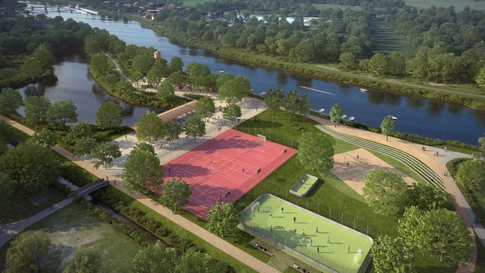 Vizualizace parku na Špici: součástí budou i moderní sportoviště