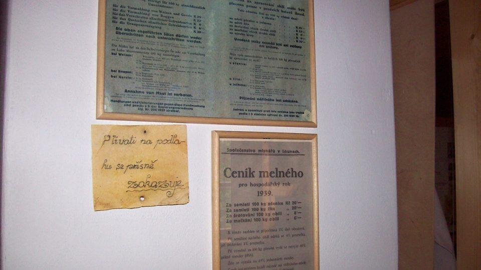 Cedulky z původního provozu