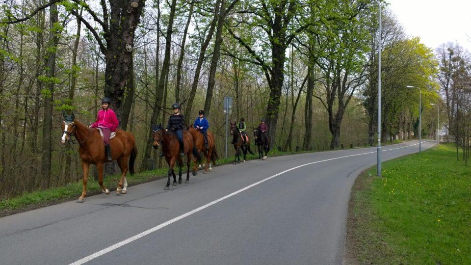 Cestou po žluté značce můžete celkem běžně potkat i výletníky na koních