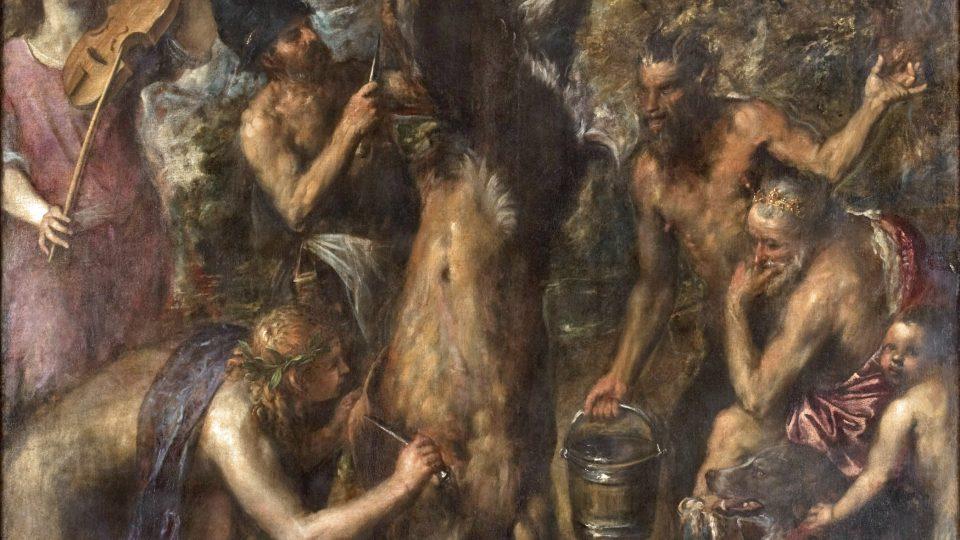Pozdní mistrovské plátno Apollo a Marsyas o potrestání pyšného satyra. Obraz byl možná inspirován stejně krutým trestem, který vykonali Turci v roce 1571 nad velitelem benátské pevnosti na Kypru