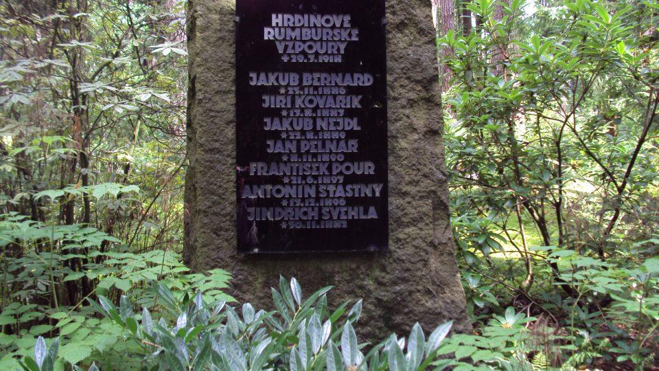 Památník na lesním hřbitově Nový Bor