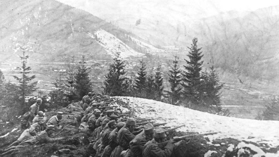 Vojáci II. brigády polských legií během bojů v Karpatech