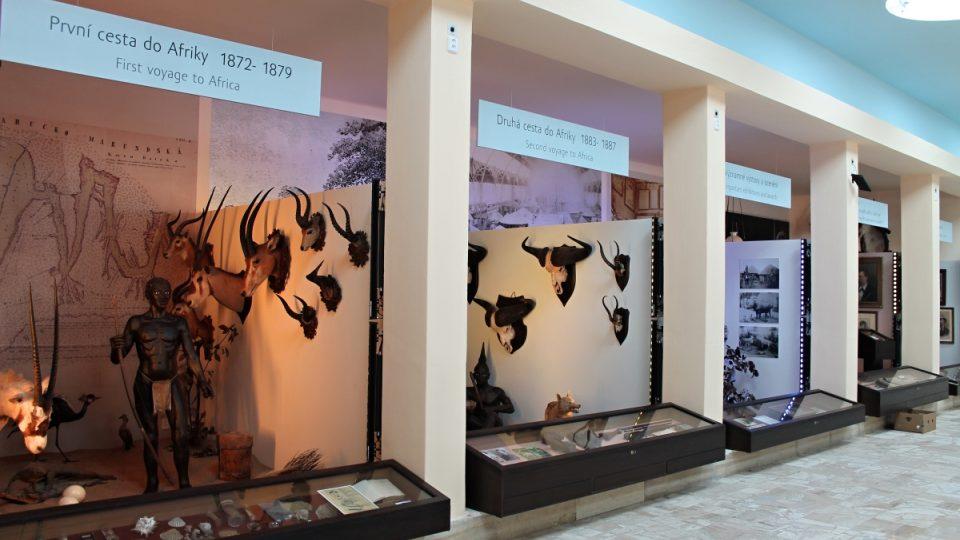 Interiér muzea nabízí pohled do různých etap života Emila Holuba
