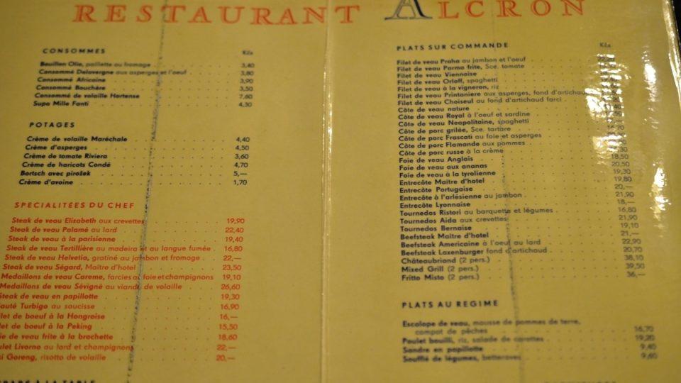 Jídelní lístek restaurace Alcron