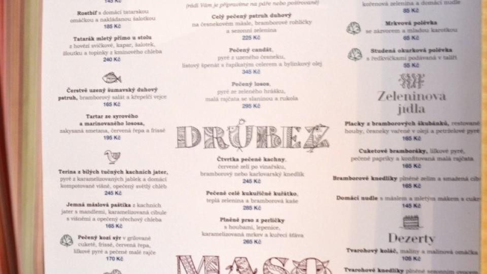 Jídelní lístek restaurace Babiččina zahrada