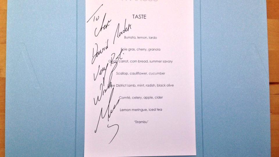 MARCUS DEGUSTAČNÍ MENU - osobně podepsané menu Marcusem, při obědě