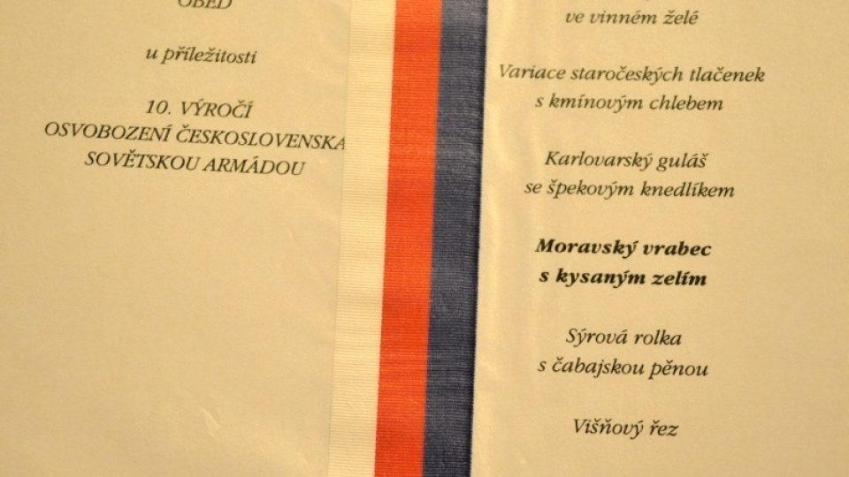Prezidentské menu - Antonín Zápotocký - 1955