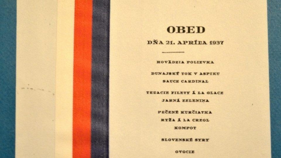 Prezidentské menu - Edvard Beneš - 1937