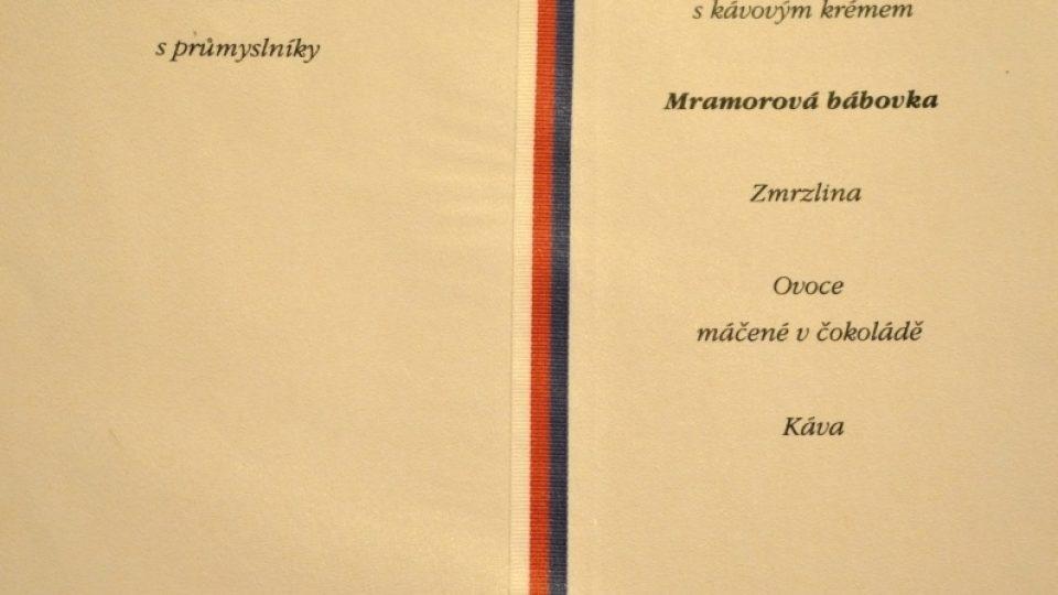 Prezidentské menu - Emil Hácha - 1942