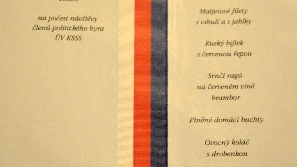 Prezidentské menu - Klement Gottwald - 1952