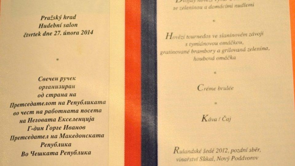 Prezidentské menu - Miloš Zeman - 2014