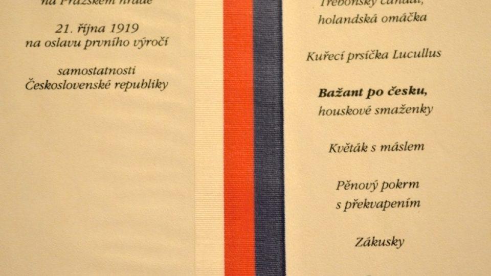 Prezidentské menu - TGM - 1919