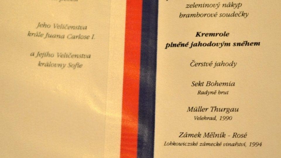 Prezidentské menu - Václav Havel - 1995