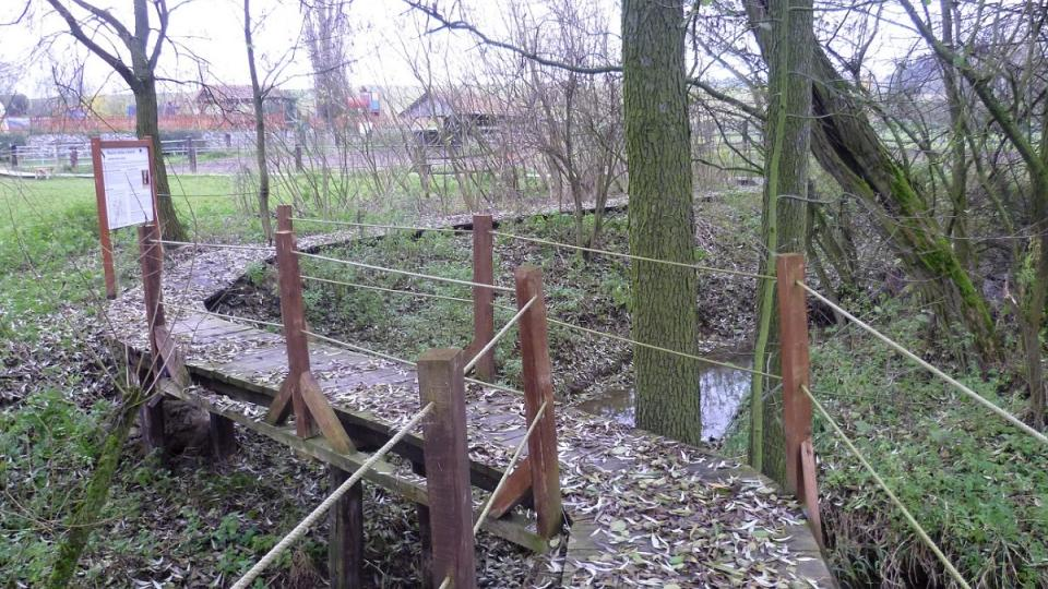 Dřevěná lávka usnadňuje přechod přes výběh a Ždírecký potok