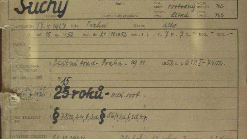 Osobní spis Františka Suchého