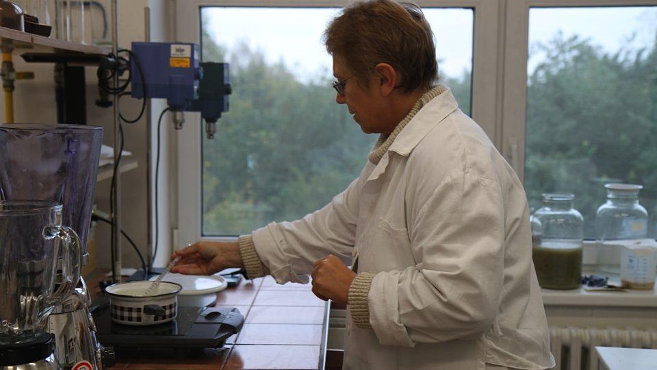 Ing. Jana Dernovšková připravuje v laboratoři fixační látku