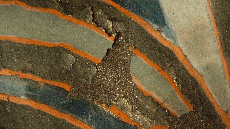 Postup restaurování 03 – při restaurování se postupně vyplňovala dutina, která vznikla mezi pergamenem a barvou