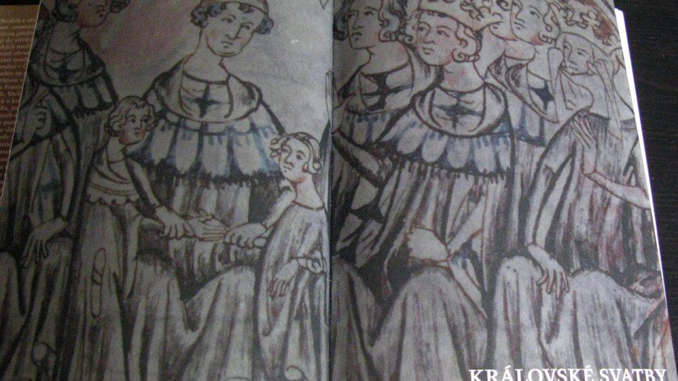 Vyobrazení sňatku Jana Lucemburského a Elišky Přemyslovny v knize Slavnosti, ceremonie a rituály v pozdním středověku