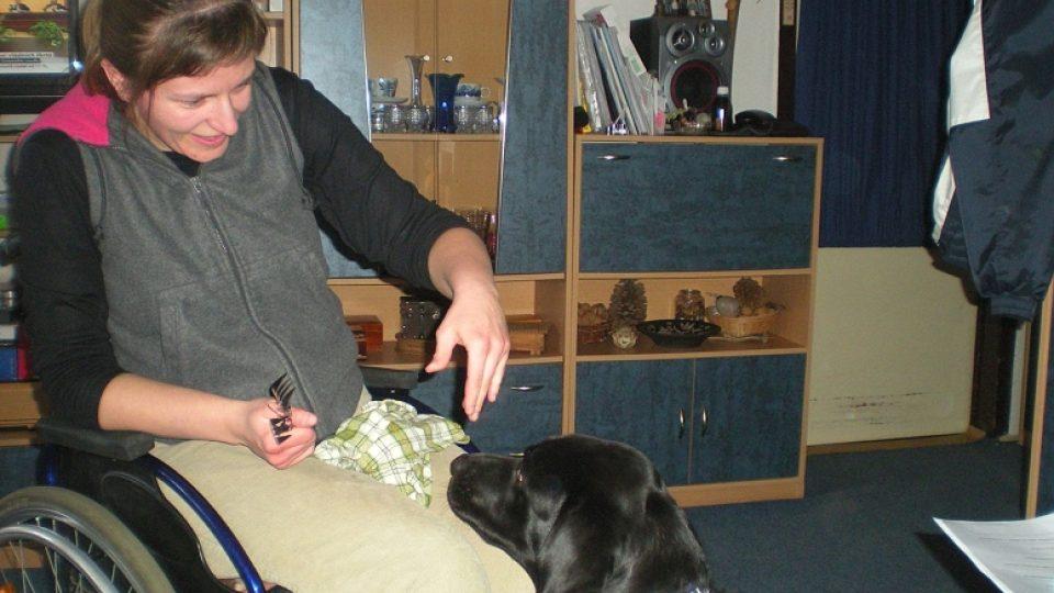 Fotografie secvičování Petry Hlisnikovské s asistenčním psem Emou
