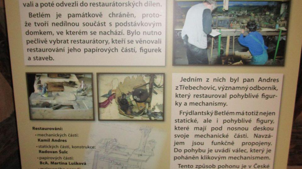 V létě 2010 byl frýdlantský betlém v péči restaurátorů, čímž si v podstatě zachránil život