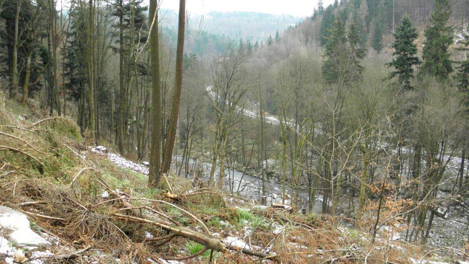 Pohled na trať a údolí Bystřice