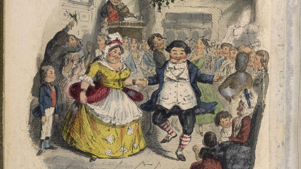 Bál u pana Fezziwiga.  Ilustrace Johna Leeche k 1. vydání Vánoční povídky Charlese Dickense (1843)