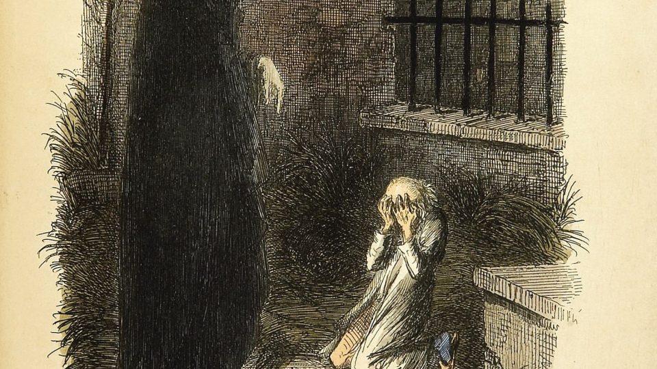 Poslední z duchů. Ilustrace Johna Leeche k 1. vydání Vánoční povídky Charlese Dickense (1843)
