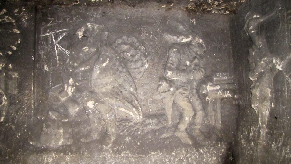 Reliéf inpirovaný bajkou o Lišáku Ferinovi