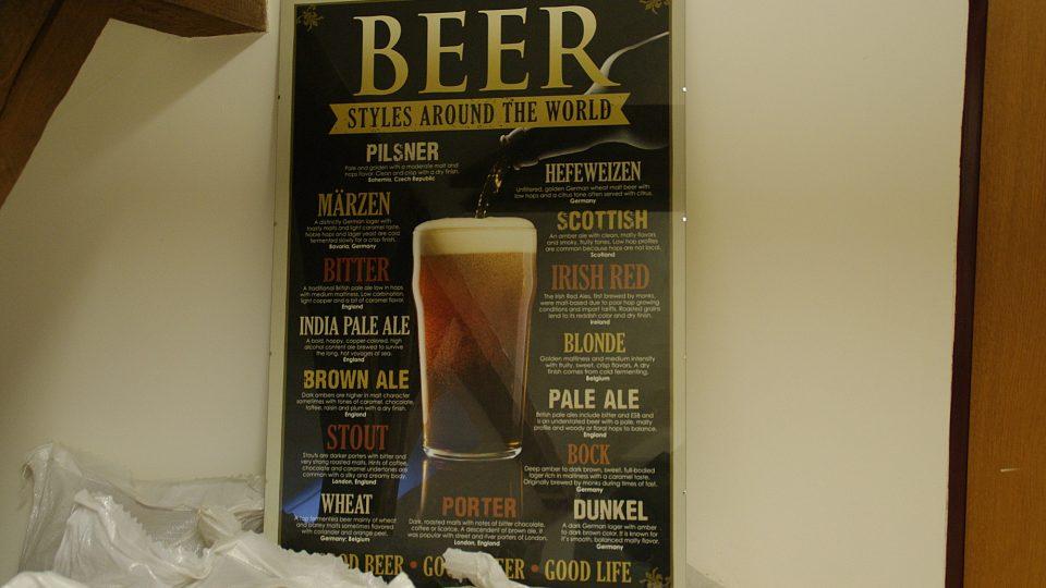 Druhy piv, které jsou v Evropě a Americe nejběžnější