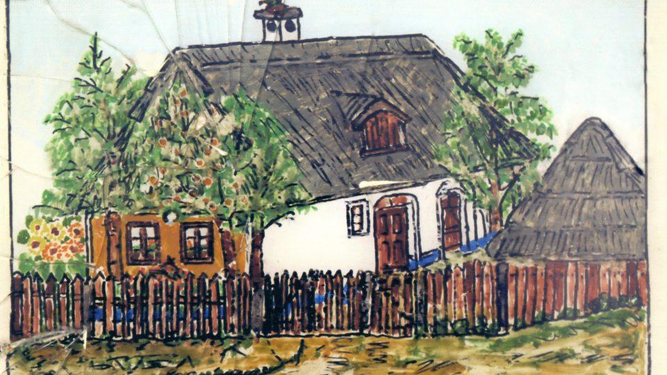 Kresba rodného domu Anežky Janečkové