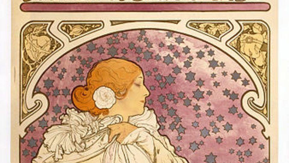 Dáma s kaméliemi se Sarah Bernhardt, plakát Alfonse Muchy (1896)