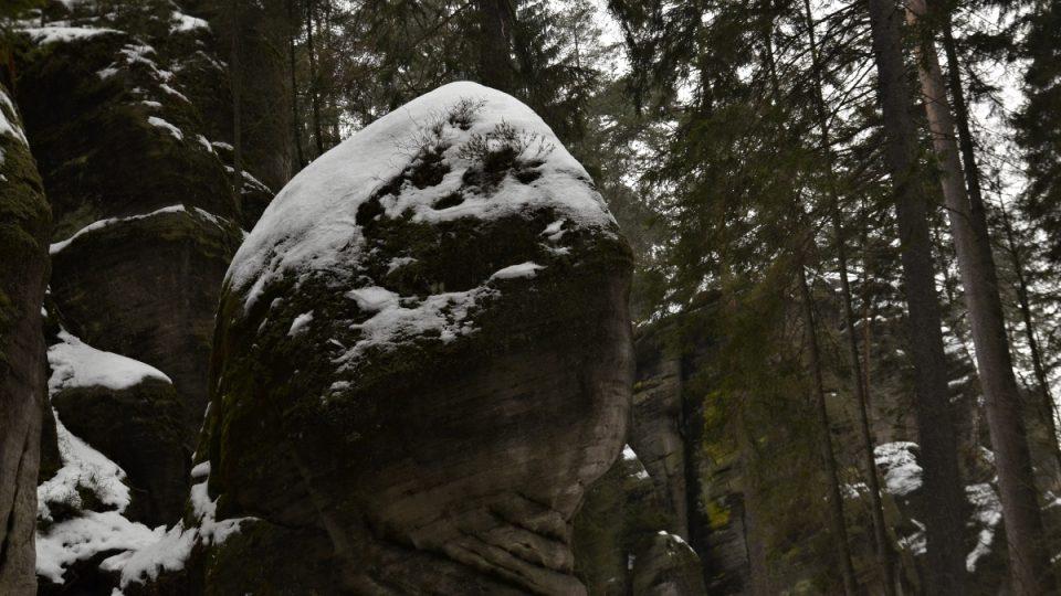 Hlava rytíře, skály v zimě
