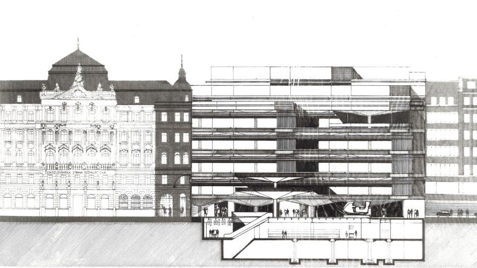 Jeden z prvních nákresů obchodního domu, ještě bez názvu Kotva