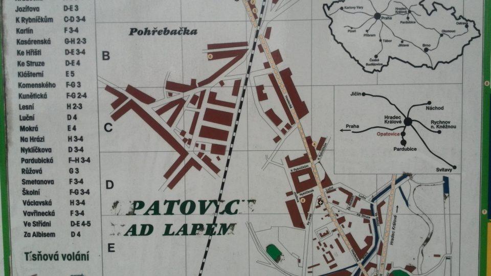 Mapa Opatovic nad Labem