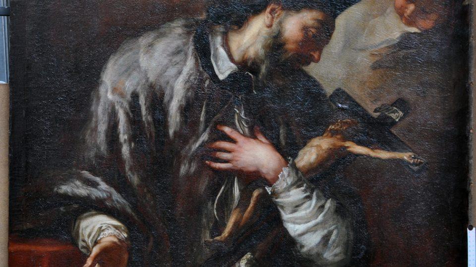 Obraz sv. Jana Nepomuckého od Anthona Schoonjanse po základním restaurátorským ošetřením