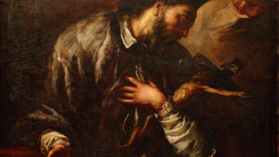 Obraz sv. Jana Nepomuckého od Anthona Schoonjanse před základním restaurátorským ošetřením