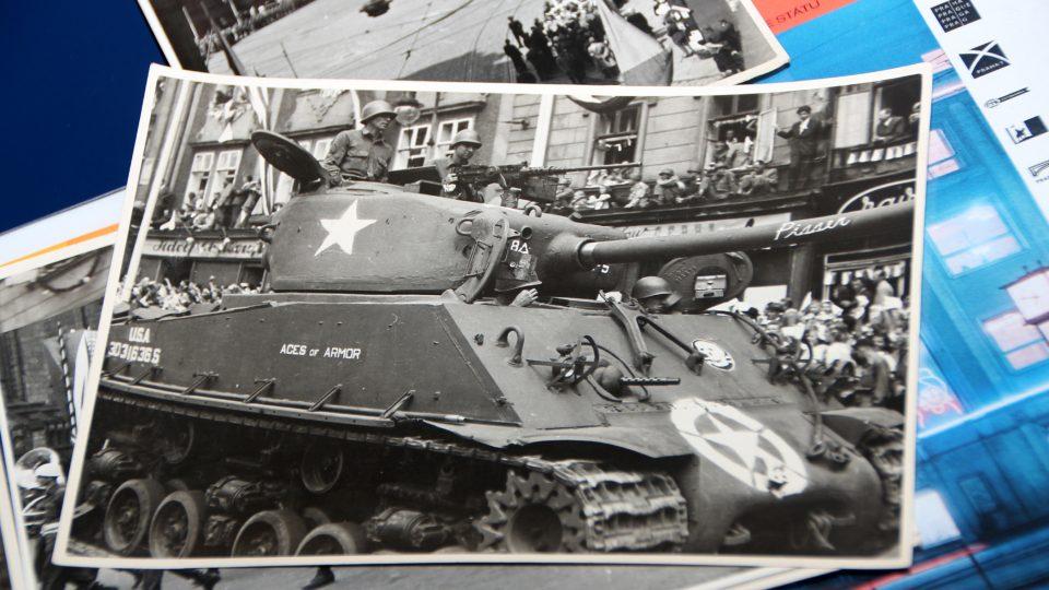 Tank spojenecké armády v Plzni 1945