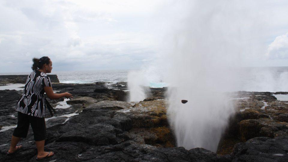 Samoa - blowholes na ostrově Savai´i