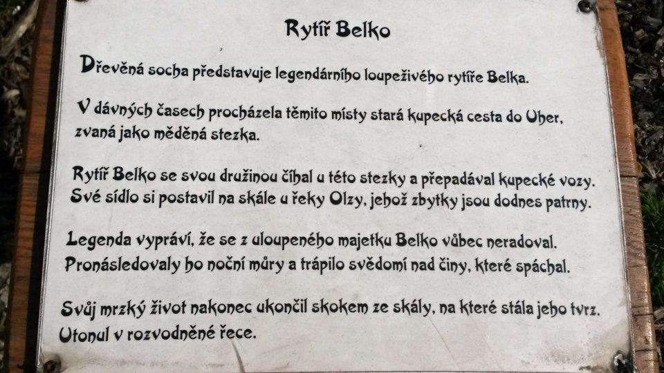 Informační tabulka u sochy rytíře Belka
