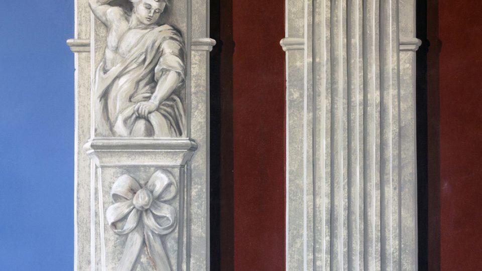 Salon, detail pilastrů na severní stěně, stav po restaurování