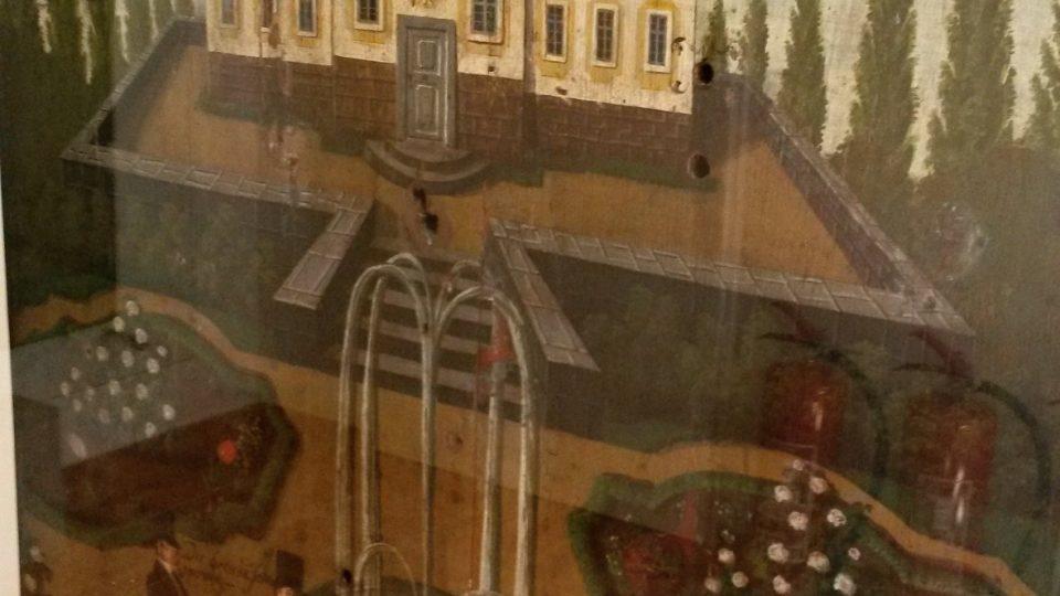 Autorem malby na tomto terči z roku 1837 je jistý Jann Zahradnik, patrně malíř-amatér, o němž dnes nevíme nic. Jeho dílo znázorňuje zámeček na terase a u fontány postávající tři společensky oblečené muže
