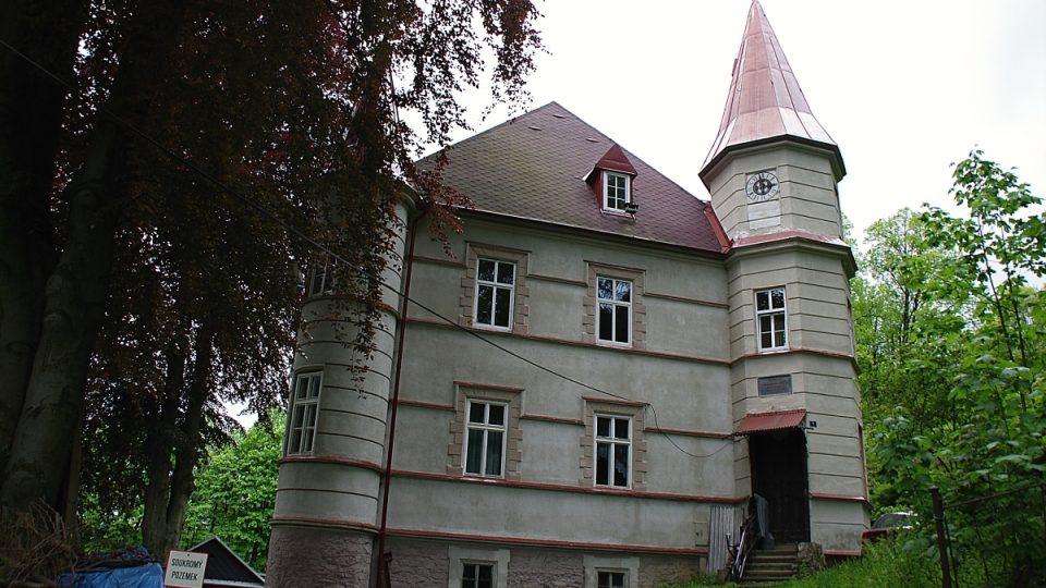 V nejbližším sousedství lavice stojí tzv. Anglická vila postavená v roce 1881