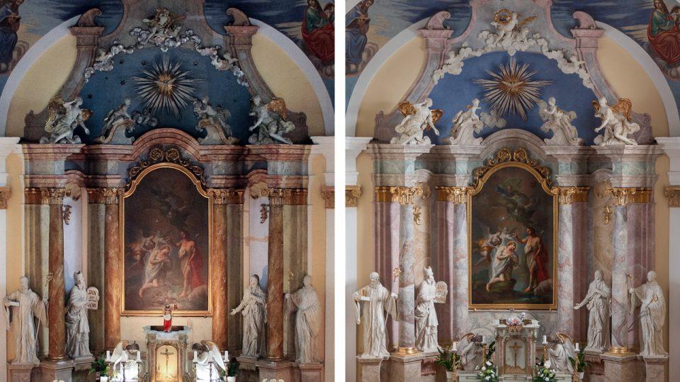 Porovnání stavu oltáře před a po restaurátorském zásahu