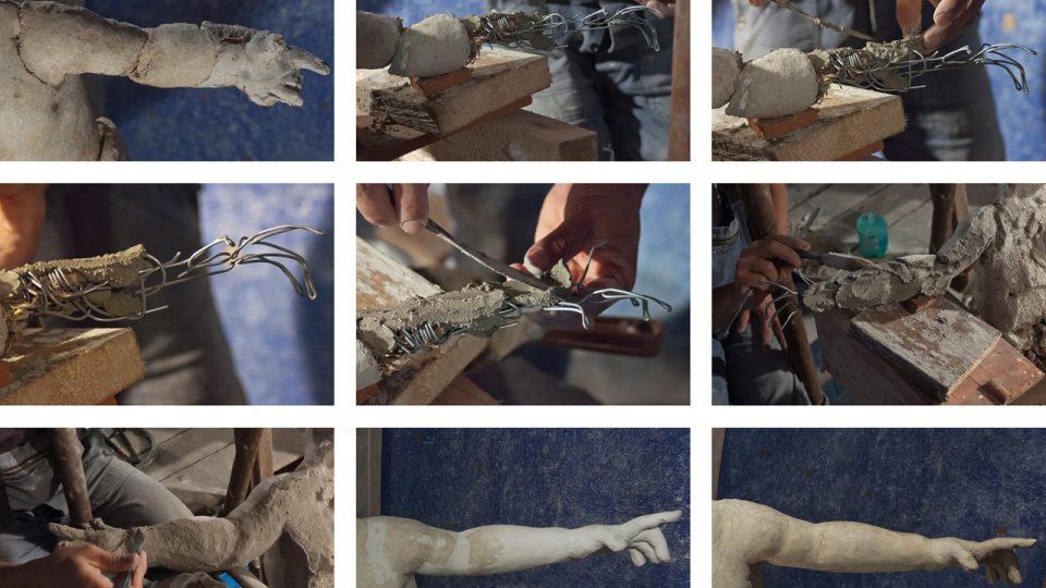 Práce, které bylo nutné provést na levé ruce druhého anděla