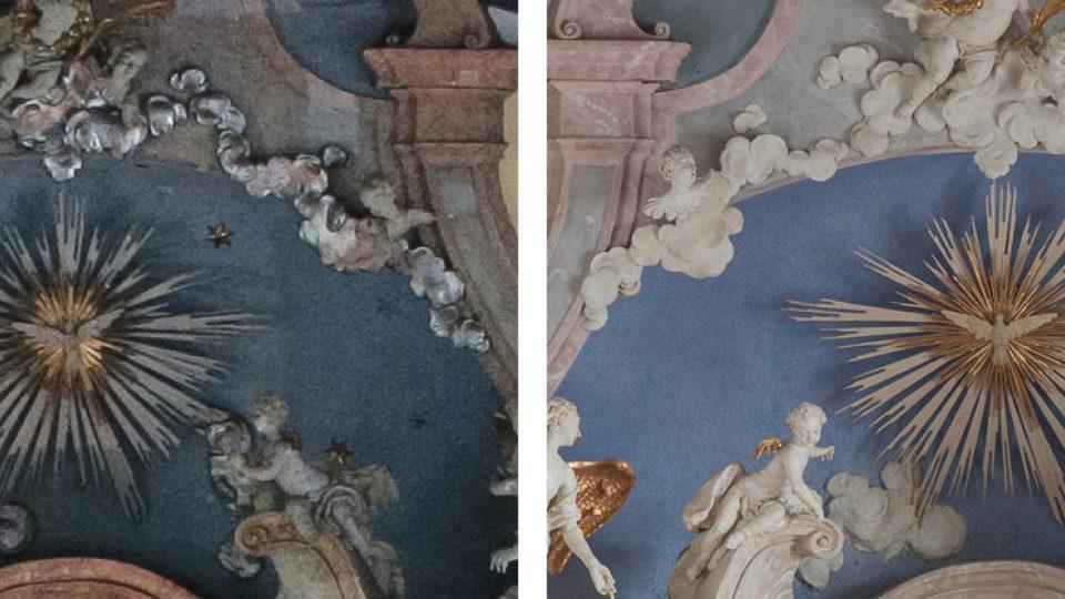 Koncha před a po restaurování