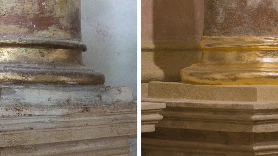 Patka sloupu před a po restaurování