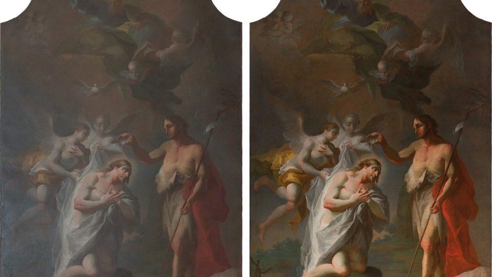 Srovnání obrazu před a po restaurování