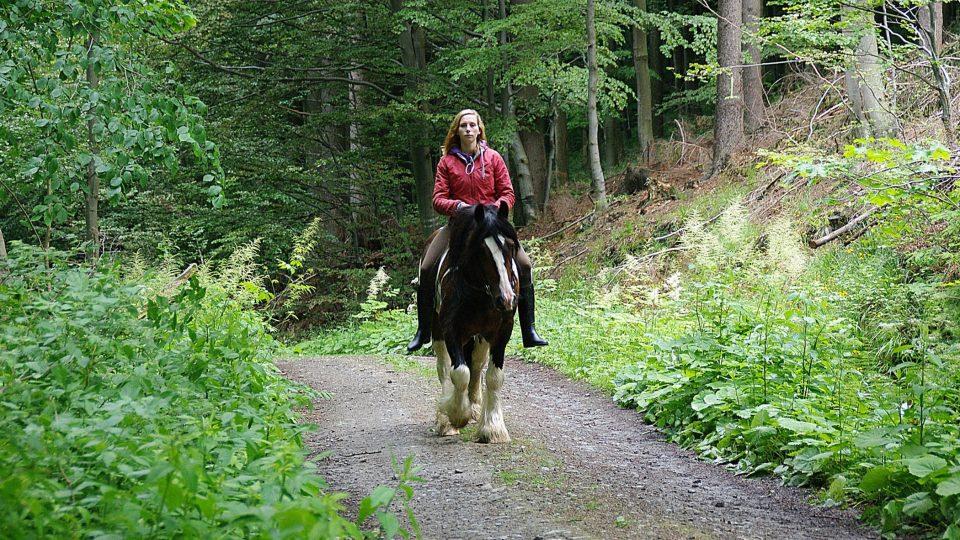 Na stezce se můžete setkat i s půvabnou jezdkyní z nedalekého ranče